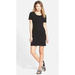 Leith Short Sleeve Ribbed Knit Dress in Black Sz L